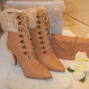 NWT Charlotte Russe Lace Up Faux Fur Heeled Boots
